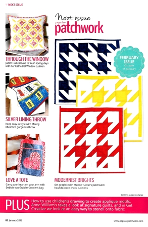 My first project in Popular Patchwork magazine Feb 2016